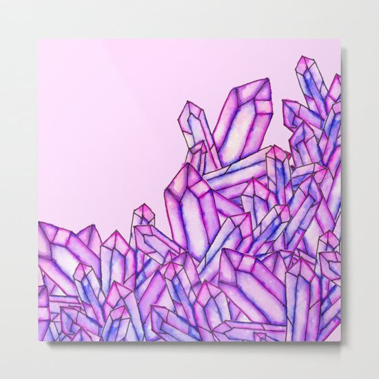 Pink purple watercolor paint crystals gem pattern Metal Print