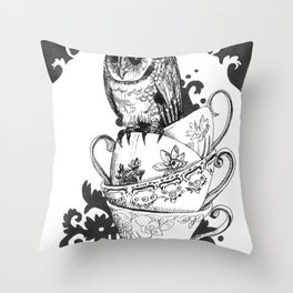 Baby Owl in Antique Teacups  Throw Pillow
