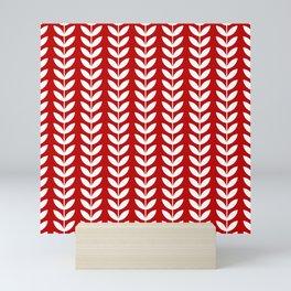 Red and White Scandinavian leaves pattern Mini Art Print