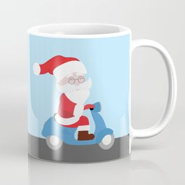 Santa Claus coming to you on his Scooter Coffee Mug