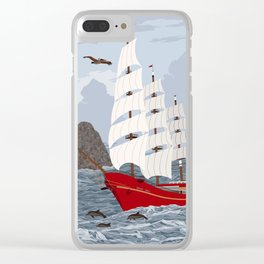 Red ship Clear iPhone Case