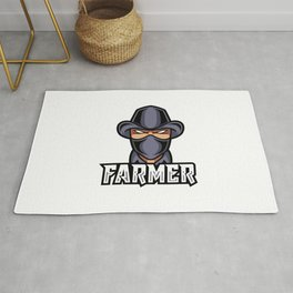 Farmer Man Mascot Gaming Logo Black Suit Mask Hat Rug
