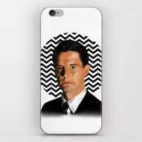 dale cooper iPhone & iPod Skins featuring Special Agent Dale Cooper - Twin Peaks by thewhimsicallilbird