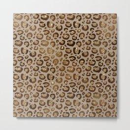 Brown Glitter Leopard Print Pattern Metal Print