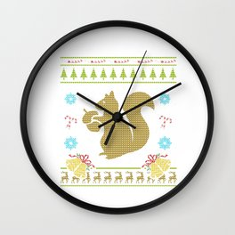 Pet Squirrel Christmas Ugly Sweater Design Shirt Wall Clock