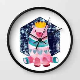 Cute Pink Bear Wearing a Crown Wall Clock