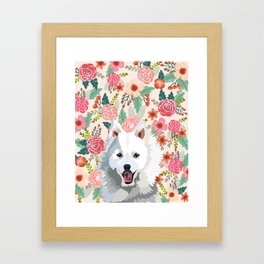 Japanese Spitz floral pet portrait wall art and gifts for dog breed lovers Framed Art Print