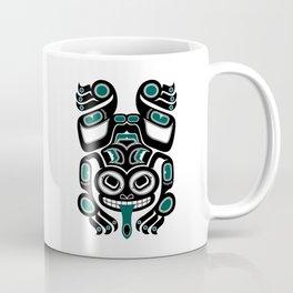 Teal Blue and Black Haida Spirit Tree Frog Coffee Mug