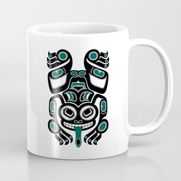 Teal Blue and Black Haida Spirit Tree Frog Coffee Mug