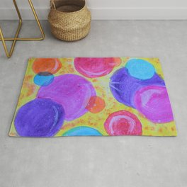 Colorful bubbles -  abstract pattern acrylic painting Rug