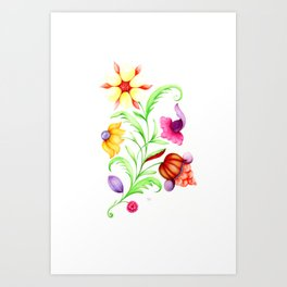 Fantasy baroque bright yellow flower Art Print