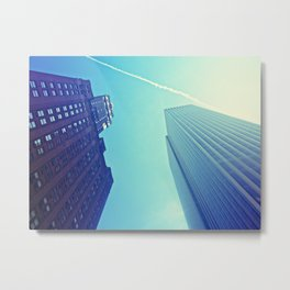 Skyscrapers and Contrail Metal Print
