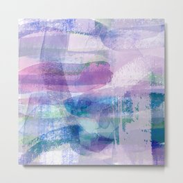 Afternoon by the Sea Abstract in Purple, Blue, Green, Pink Metal Print