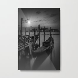 VENICE Gondolas during sunrise in black and white Metal Print