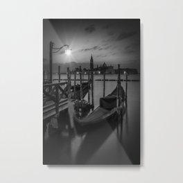 VENICE Gondolas during sunrise in black and white Metal Print