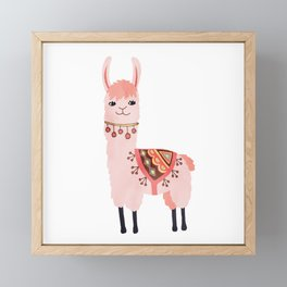 Cute Lama Sticker Framed Mini Art Print