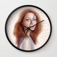 emma stone Wall Clocks featuring Emma Stone by Jessica Guetta