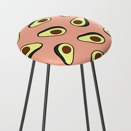 Avocado Pattern in Pink Counter Stool