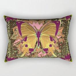 Ornate Mauve Swallow Tailed Butterfly Yellow-Khaki Design Rectangular Pillow