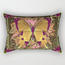 Ornate Mauve Swallow Tailed Butterfly Yellow-Khaki Design Rectangular Pillow