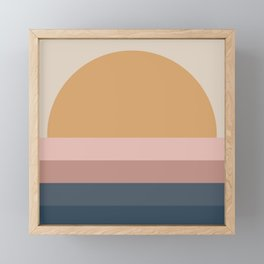 Minimal Retro Sunset - Neutral Framed Mini Art Print