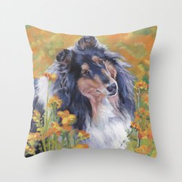 Rough Collie dog art portrait from an original painting by L.A.Shepard Throw Pillow