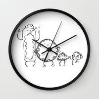 donuts Wall Clocks featuring Donuts by Monique Turchan