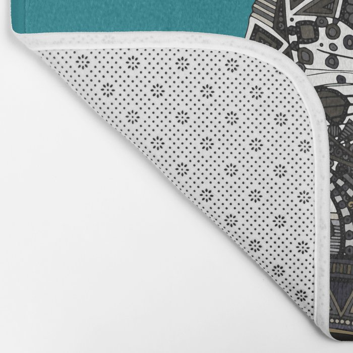 snow leopard teal Bath Mat