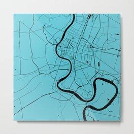Bangkok Thailand Minimal Street Map - Turquoise and Black Metal Print