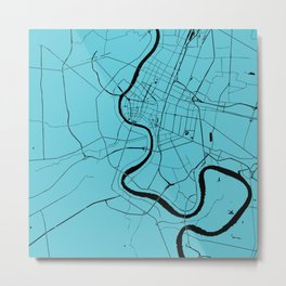 Bangkok Thailand Minimal Street Map - Turquoise and Black Metal Print