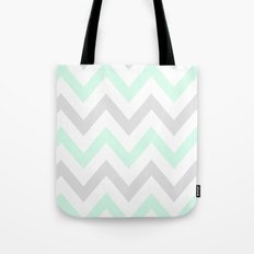 WASHED OUT CHEVRON (MINT & GRAY) Tote Bag
