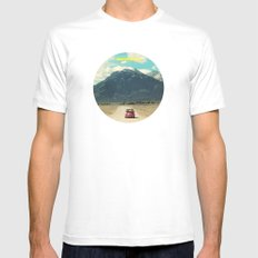 NEVER STOP EXPLORING III MEDIUM White Mens Fitted Tee