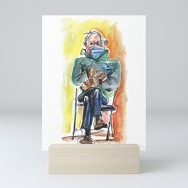 Bernie Sitting - watercolor drawing Mini Art Print
