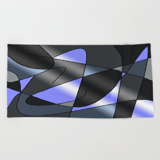 ABSTRACT CURVES #2 (Greys & Light Blue) Beach Towel