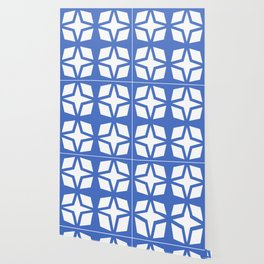 Mid Century Modern Star Pattern Blue 552 Wallpaper