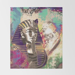 King Tut  Mask Abstract composition Throw Blanket