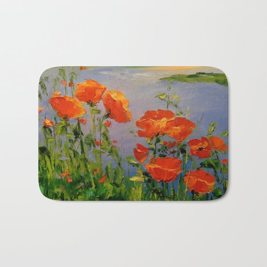 Poppies near the river Bath Mat