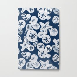 Navy and White Seashells Metal Print