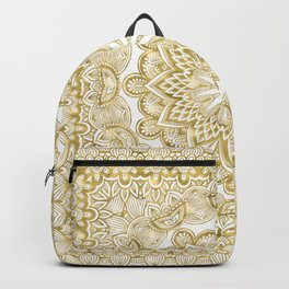 Orient Espresso Pattern Mandala Gold Backpack