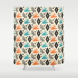 Mid Century Modern Space age Boomerang Pattern Orange and turquoise 121 Shower Curtain