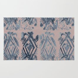 Simply Ikat Ink in Indigo Blue on Clay Pink Rug