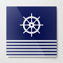 AFE Navy & White Helm Wheel Metal Print
