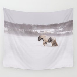 Lonely horse in the snow Wall Tapestry