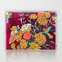 Marigold, Daisy and Wildflower Bouquet Fall Floral Still Life Painting on Eggplant Purple Laptop & iPad Skin