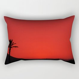Red Andalusian sunset with silhouette palm tree and mountain Rectangular Pillow