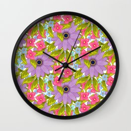 Cute colorful floral pattern Wall Clock