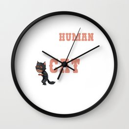 This Human Costume Funny Real Cat Kittens Owners Feline Mammal Kitty Animal Lovers Gift Wall Clock