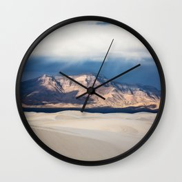 Sunlight on San Andres - Desert Scenery at White Sands New Mexico Wall Clock
