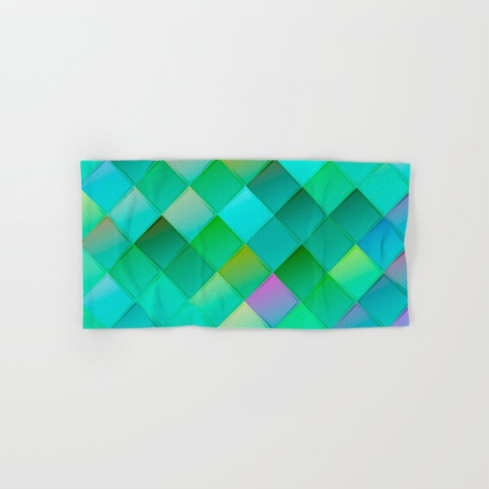 Green pattern with squares.Trendy print. Modern graphic design. Hand & Bath Towel