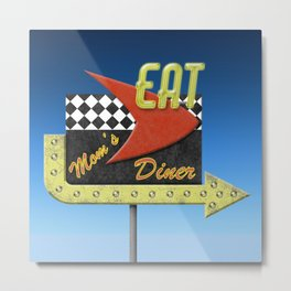 """Mom's Diner"" Retro '50s Diner Sign Metal Print"